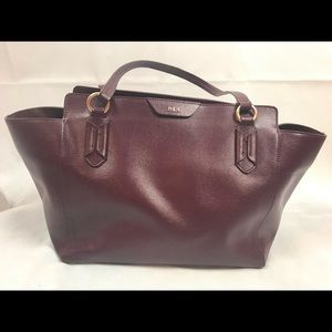 Ralph Lauren Wine Large Leather Shoulder Bag Flaws